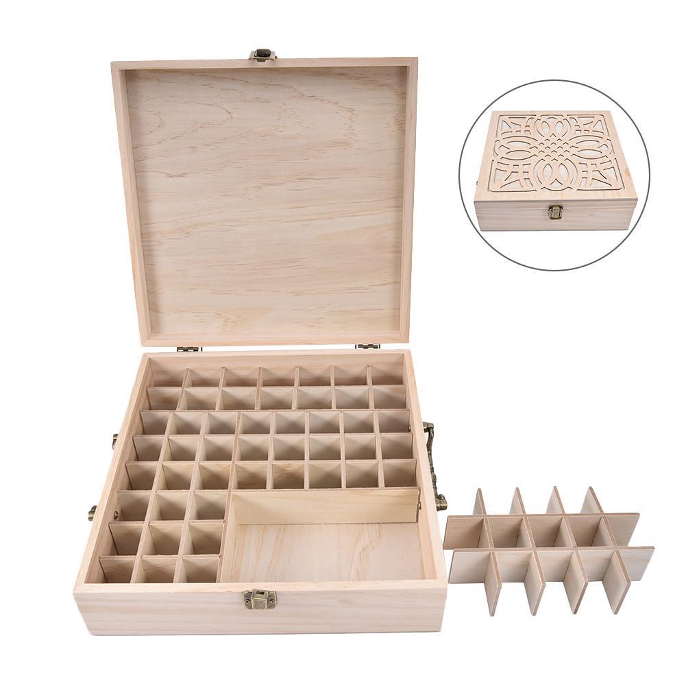 Boîte à huile essentielle en bois 62-slot boule bouteille organisateur emballage cadeau sculpture huile essentielle boîte de rangement décoration de bureau