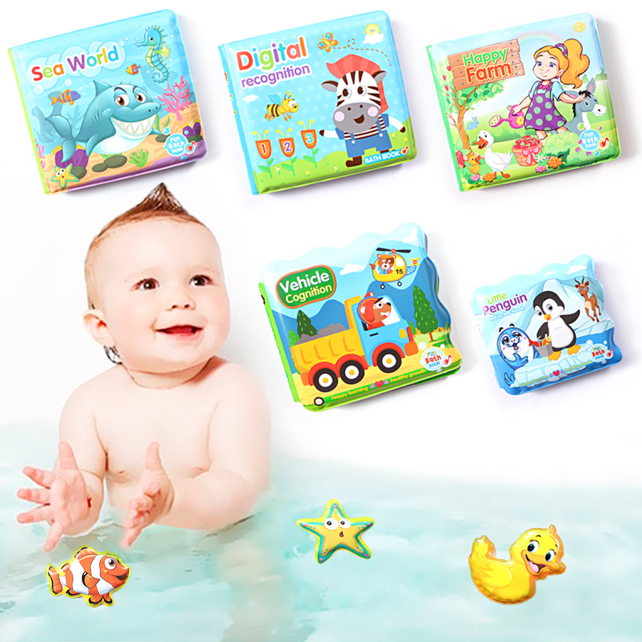 Water Bath Toy Bath Book Swimming Bathroom Toy Baby Toys Early Educational Toy With BB Shistle Learning Animal Digital Bath Book