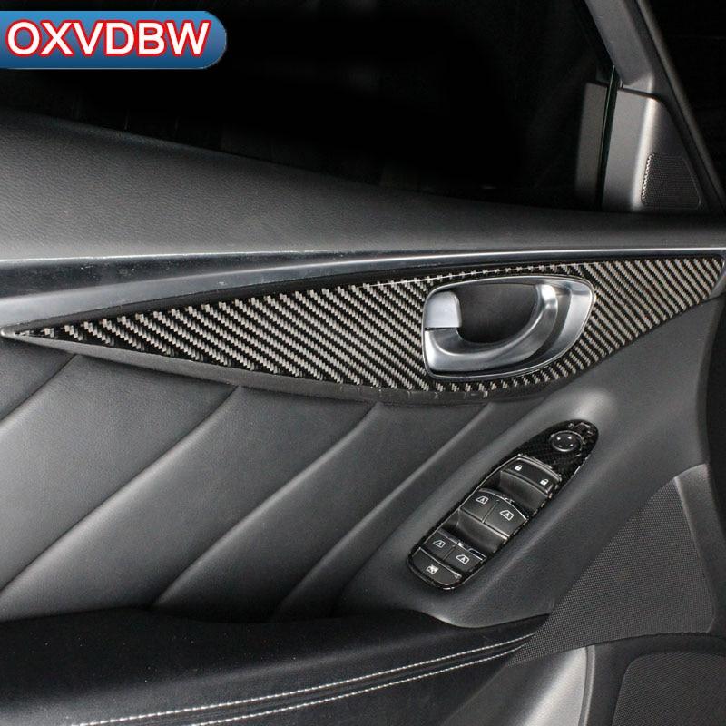 For Infiniti Q50 Q60 Accessories Carbon Fiber Door Handle Panel automotive interior trim stickers Automobile modeling