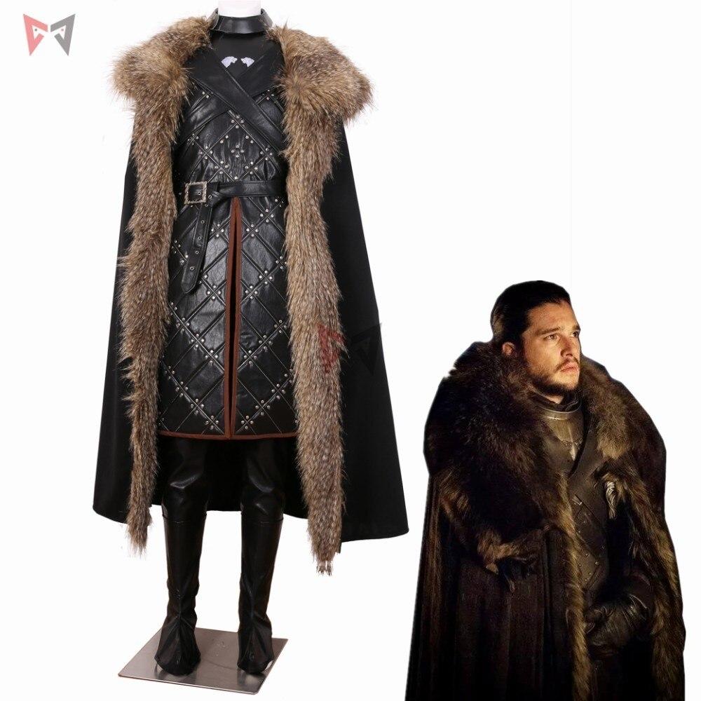 2019 Moda Mmgg Game Of Thrones 7 Jon Snow Cosplay Costume Grande Collo Di Pelliccia Lungo Cappotto Pantaloni Guanti In Pelle Testa Di Lupo Spilla Set Formato Su Ordine Grandi Varietà