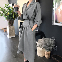 LANMREM Spring New Fashion Korea 2019 New Fashion Notched Three Quarter Sleeve Irregular Hem Mid calf Dress Woman FA14001