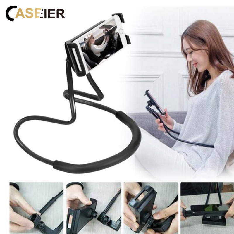 CASEIER Neck Phone Holder Facility Cell Phone Hanging Holder For All Smartphone Sofa Desk Holders For iPhone XR Necks Stand in Phone Holders Stands from Cellphones Telecommunications