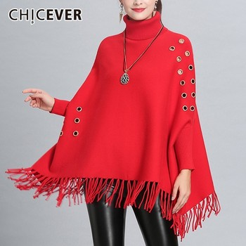 CHICEVER Hem Tassel Women's Turtleneck Sweater Batwing Sleeve Loose Oversize Knitted Pullovers Autumn Winter Tops Female Clothes
