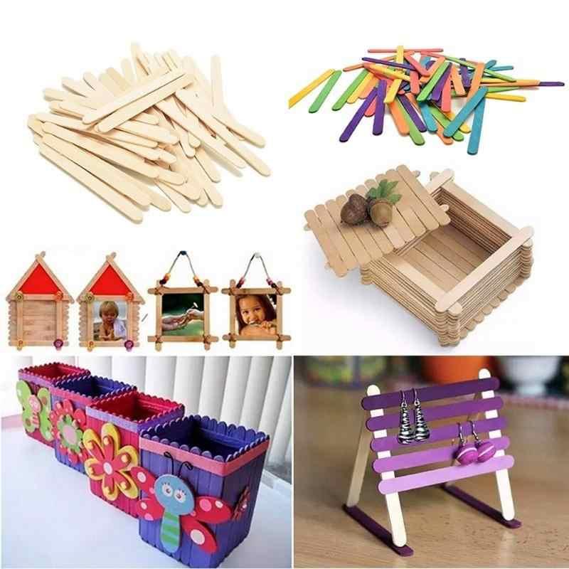 50 قطعة عصا المصاصة الخشبية الاطفال الآيس كريم اسكيمو لتقوم بها بنفسك صنع مضحك