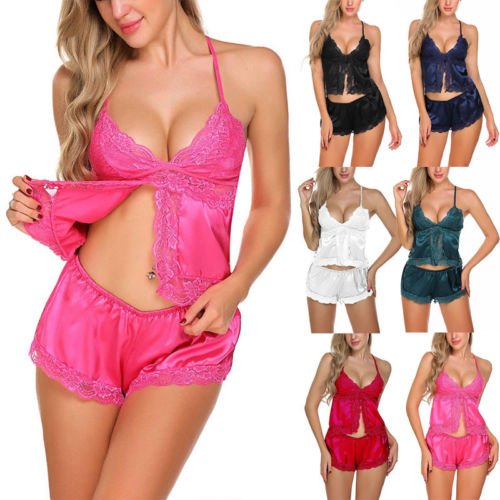 Sexy Lingerie Women Silk Lace Robe Babydoll Nightdress Nightgown Sleepwear