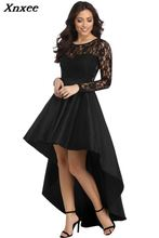 Xnxee 2019 Black Long Sleeve Lace High Low Satin Dress Sexy Elegant Maxi Evening Party Dresses Social Event Red Carpet Vestidos