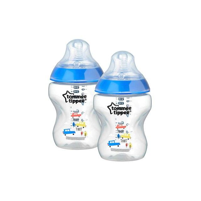 Бутылочки для кормления Tommee Tippee Closer to Nature с антиколиковым клапаном, 260 мл, 2 шт., синяя