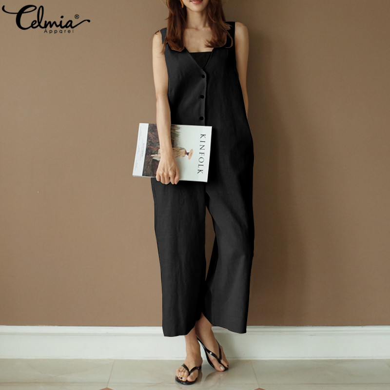 283fd789afe Detail Feedback Questions about Celmia Women Summer Sleeveless Jumpsuit 2019  Casual Romper Sexy V neck Buttons Pockets Wide Leg Trousers Plus Size  Overalls ...