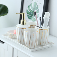 Simple ceramic Phnom Penh bathroom set five piece household bathroom supplies toothbrush cup lotion bottle set of 6 with tray