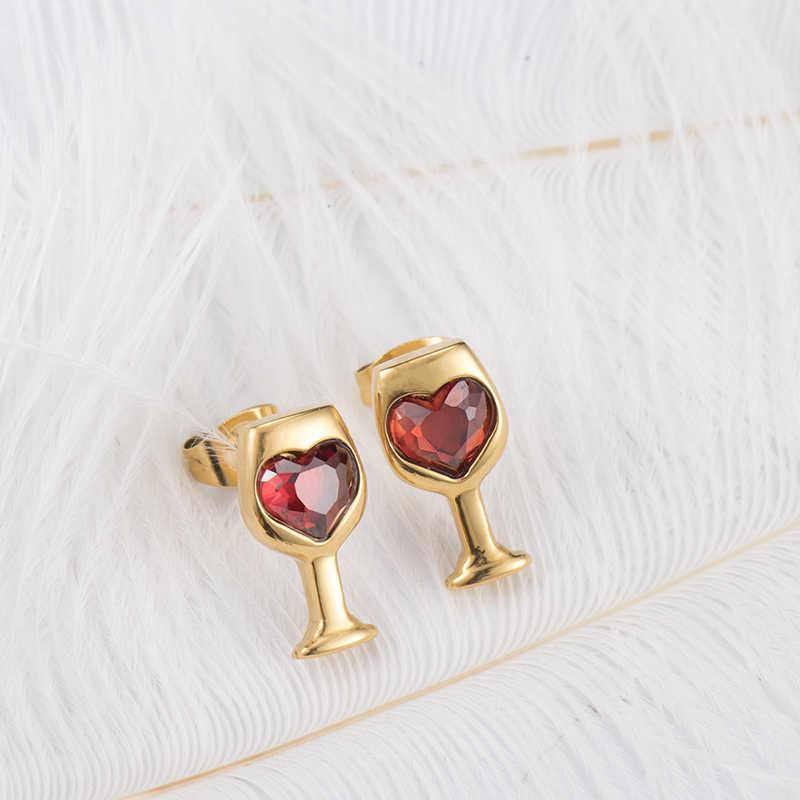 สีแดงสีคริสตัล Cubic Zircon Love หินตัดกระจกไวน์สไตล์ต่างหูแฟชั่นผู้หญิงเครื่องประดับของขวัญวันวาเลนไทน์