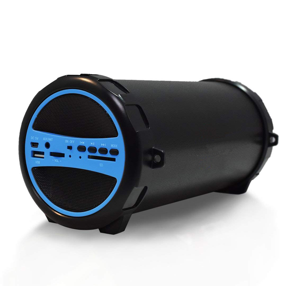 AXESS SPBT1031 Portable Bluetooth Indoor/Outdoor 2.1 Hi-Fi Cylinder Loud Speaker with Built-In 3 Sub and SD Card, USB, AUX Inpu