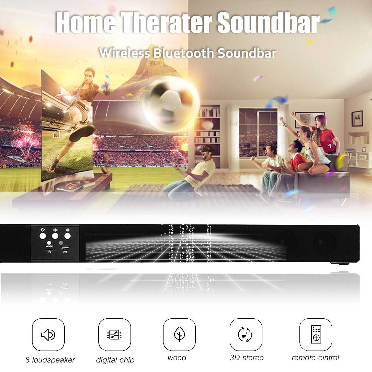 Wireless bluetooth Soundbar Speaker 4 Horn HIFI 5.1 Sound Bar Virtual Surround Sound Full range Speaker Remote Home TV Theater