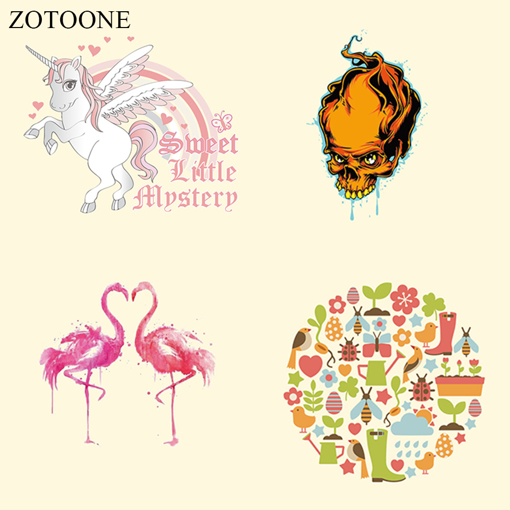ZOTOONE Iron Patches for Clothing Hippie Punk Unicorn Flower Heat Transfers for Clothes T-Shirt Diy Decoration A-Level Washable