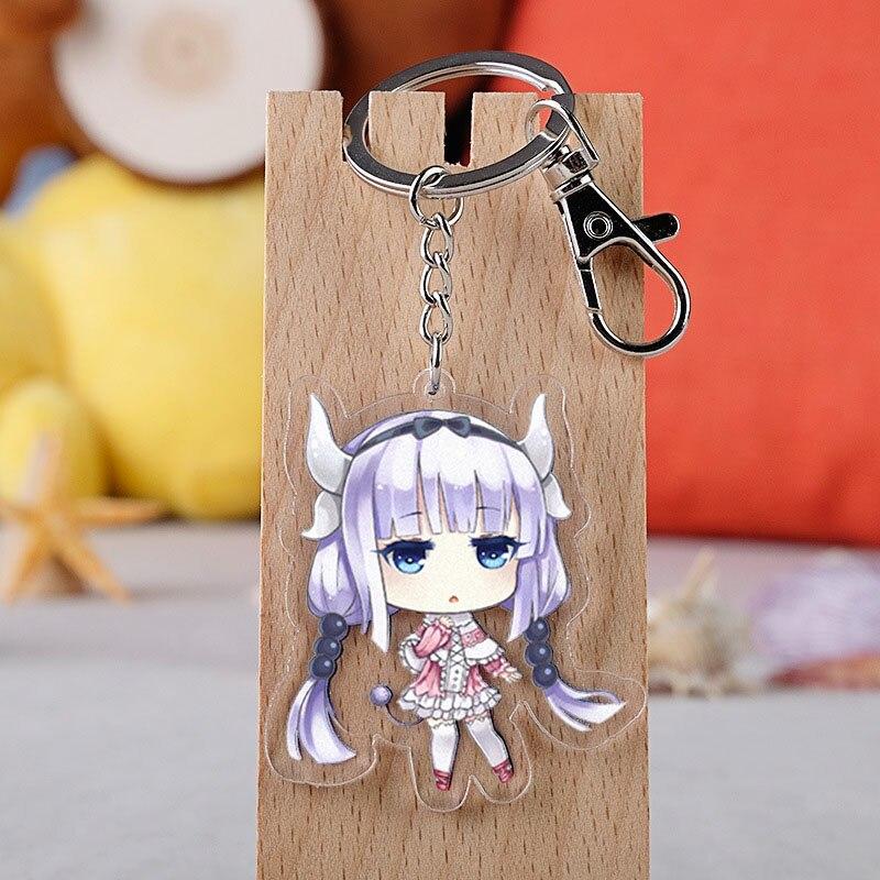 Anime Miss Kobayashi's Dragon Maid Cosplay Keychain Japanese Cartoon Kanna Kamui Car Key Holder Chain Pendants Keyring Jewelry
