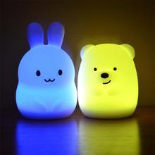 Nova luz led de animais para noite, luz noturna de silicone macia com 7 cores de urso e coelho