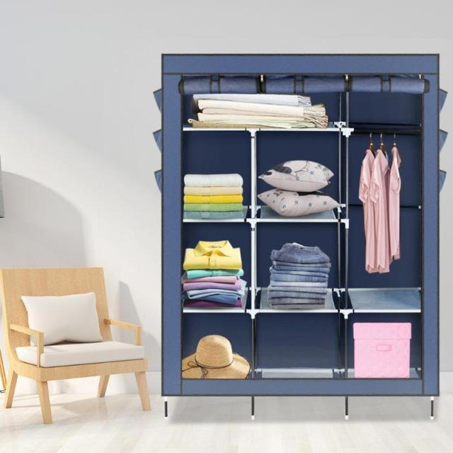 Non Woven Fabric Embled Clothes Wardrobe Portable Storage Cabinet For Houshold Clothing Organizer