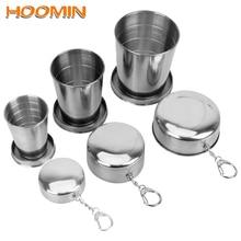 HOOMIN Складная чашка из нержавеющей стали с брелком Портативные Выдвижные Телескопические Складные стаканы Питьевая чашка для наружного использования