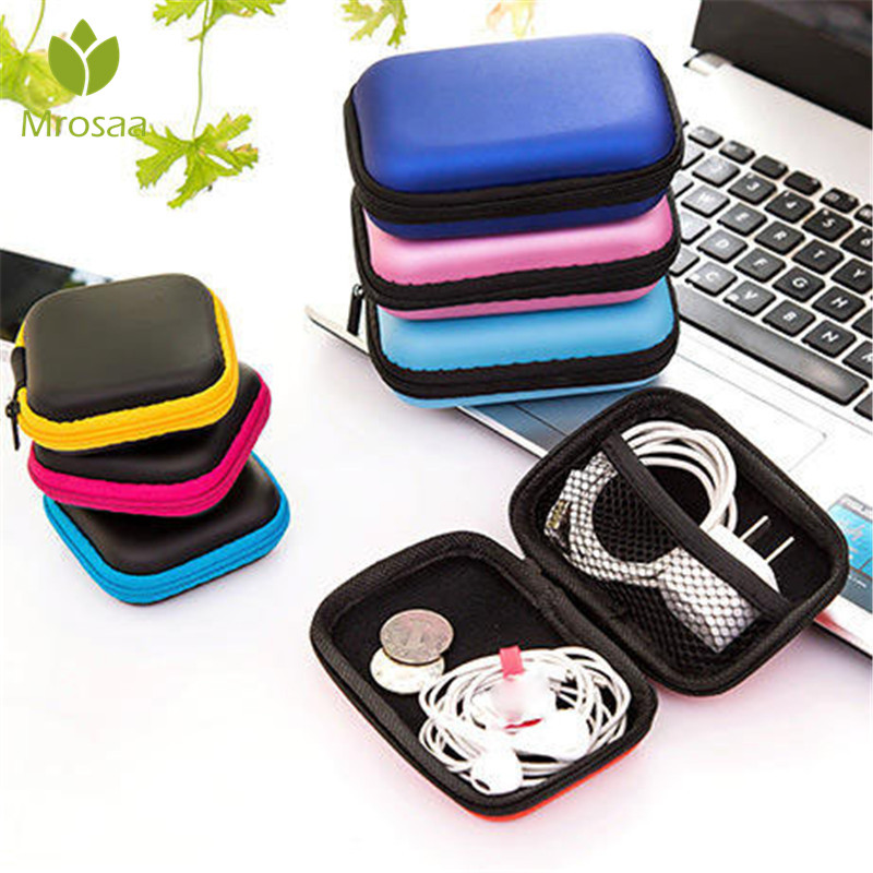 Case Container Earphone Wire-Organizer Storage-Box Cables Protective-Box Coin Square