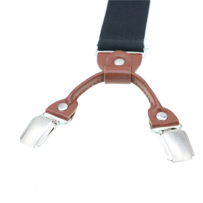 Shirt Suspenders Braces Western-Style-Trousers Brown Adjustable 6-Clips Male Man Solid