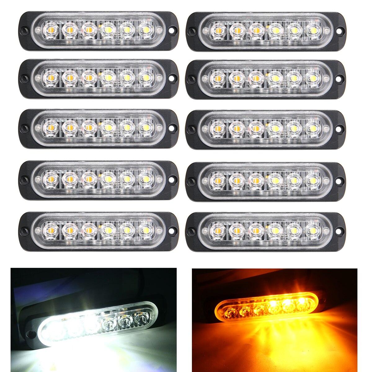 10pcs DC12V/24V 18 Modes 6LED Car Truck Light Rectangular Waterproof Emergency Beacon Warning Hazard Flash Strobe Light