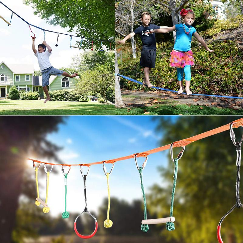 Fitness & Body Building Kids Obstacles Sling Ring Monkey Pole Outdoor Physical Training Combination Portable 40 Foot Kit Kids Swinging Course Set Gym Year-End Bargain Sale
