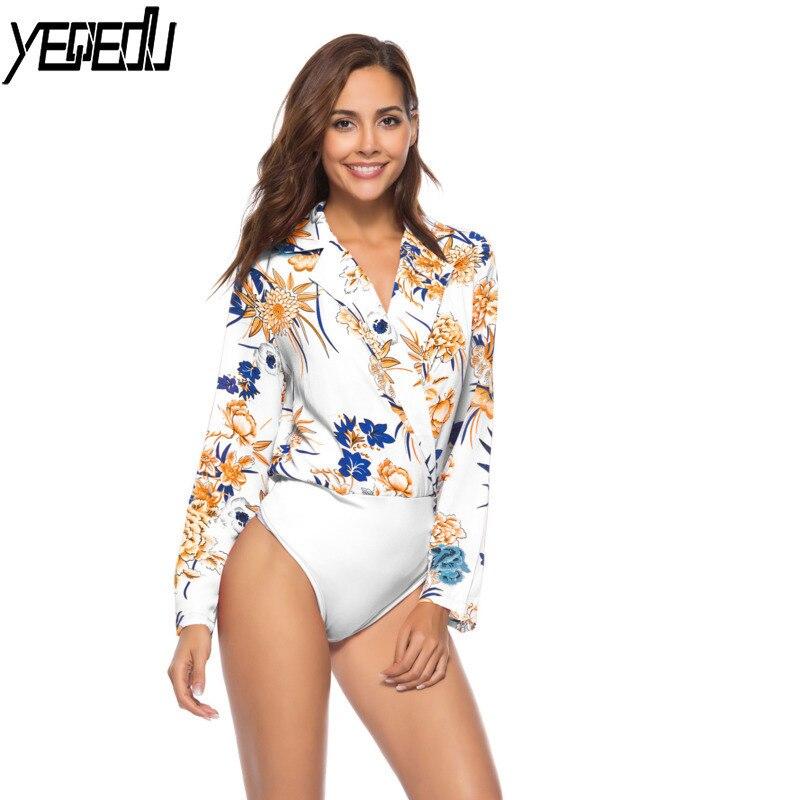 ba3935831de8 Comprar #2150 Floral Impresso Camisa Corpo Feminino Sexy Blusa de Manga  Longa Mulheres Branco Preto Vermelho Plus Size Bodysuit alta qualidade  Novidades ...