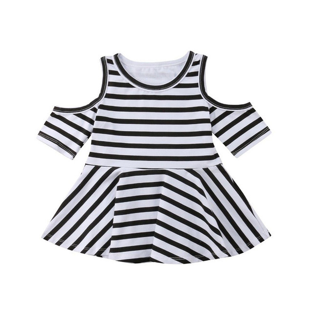 2fc311600 Baby Girls Dress One Pieces Fashion Cold Shoulder Black White Striped  Stretch A-Line Dresses