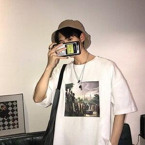 Image 4 - 2019 Zomer Koreaanse Versie Van De Campus Mode Trend Paar mannen Korte mouwen Casual Losse Ronde Hals Print sport T shirt