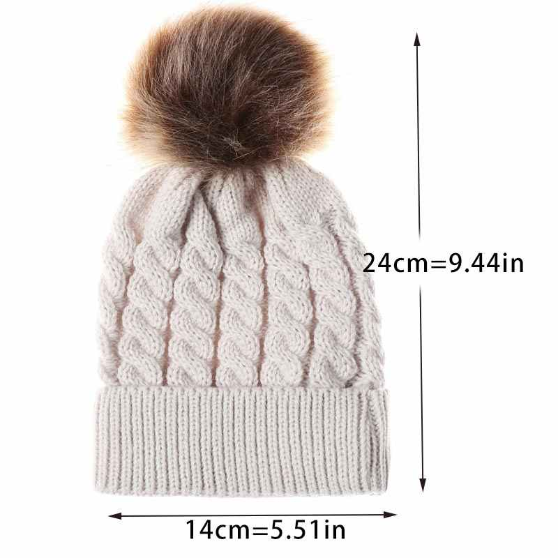 14f16f83332ab ... Infant Winter Warm Knit Crochet Cap Baby Beanie Hat Toddler Kid Faux  Fur pom pom Knit ...