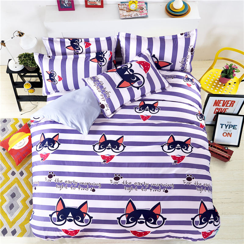 Cartoon Dog Bedding Set Bed Linen Kids Girls Boys Baby Teens Children 3/4Pcs Stripe Duvet Cover Flat Sheet Pillowcase BedclothesCartoon Dog Bedding Set Bed Linen Kids Girls Boys Baby Teens Children 3/4Pcs Stripe Duvet Cover Flat Sheet Pillowcase Bedclothes