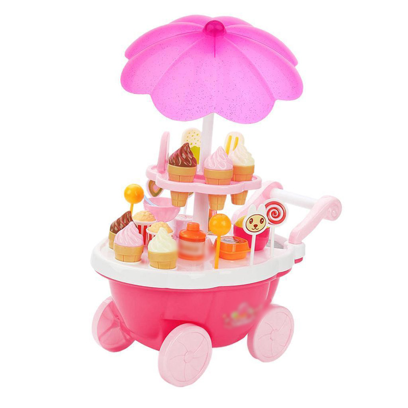 Pretend Snacks Sweets Food Ice Cream Cart Children Girls Role Play Game Toys ice cream cart toy