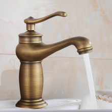 лучшая цена Antique Brass Faucet Mixer Water Tap Bathroom Sink Basin Faucets Contemporary Bathroom Rotate Single Handle Hot And Cold Crane