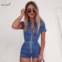 2019 Denim Blue Jumpsuit Women Short Sleeve Turn Down Collar Zipper Playsuits Shorts Jeans Rompers with Belt Streetwear Playsuit