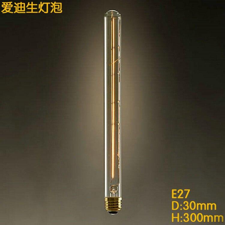 T300 110V~220v Edison Incandescent Light Bulb 40W 60w Nostalgic Tungsten Filament Long Tube Pendant Lamp Tungsten decoracao para
