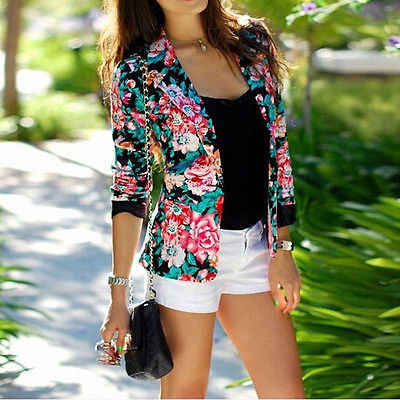 Hot   Ladies  Long Sleeve  Coats  Single Button Printed Floral Casual Jacket  Women Clothing