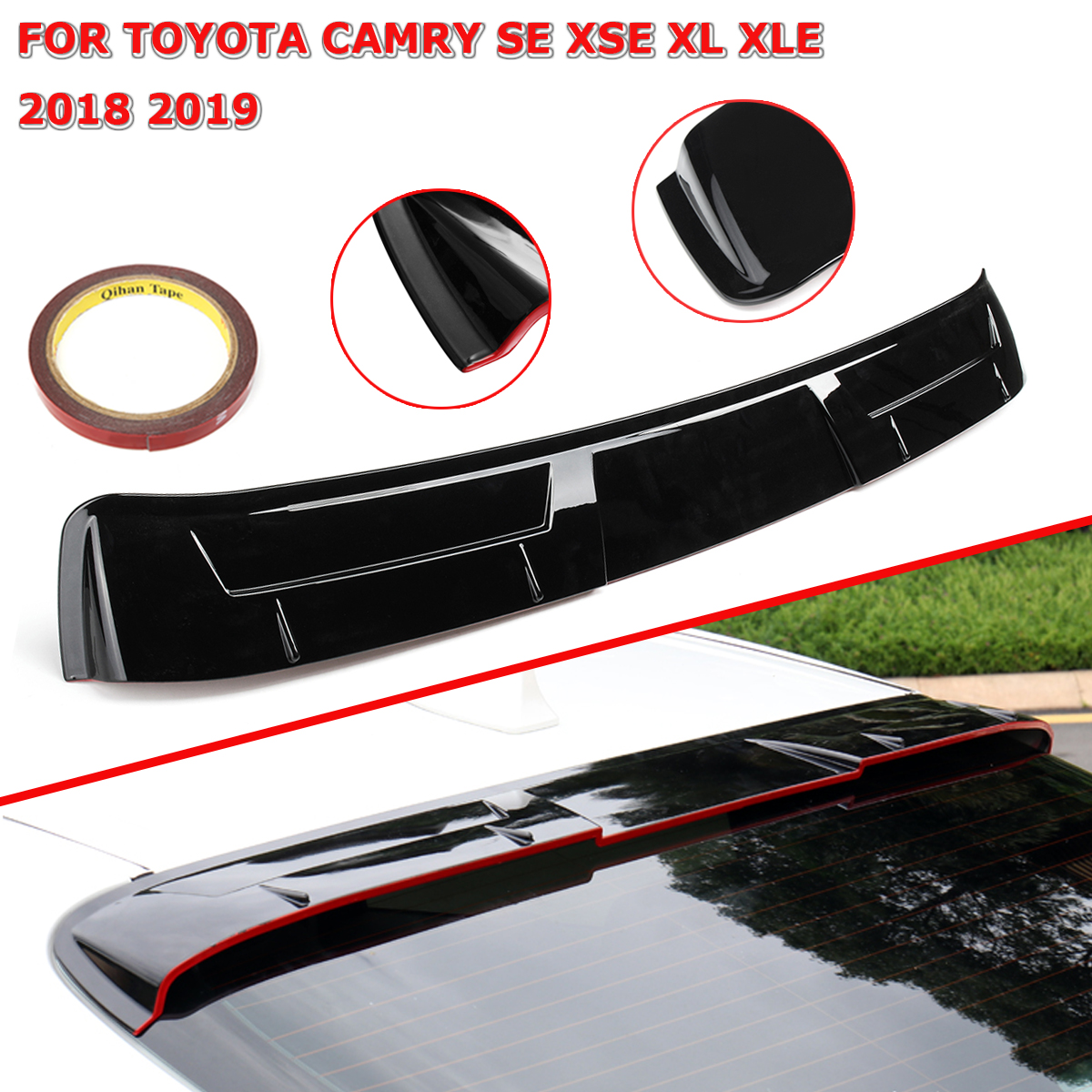 Car Black Rear Roof Spoiler Top Wing Lip W/3 Meters Glue ABS Plastic For Toyota Camry SE XSE XL XLE 2018 2019Car Black Rear Roof Spoiler Top Wing Lip W/3 Meters Glue ABS Plastic For Toyota Camry SE XSE XL XLE 2018 2019