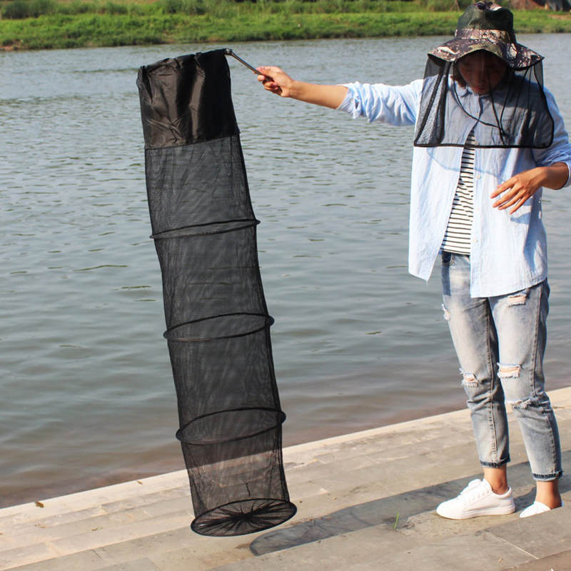 Image 5 - 1 Pcs 1.5m Fishing Net 5 Layers Nylon Wire Mesh Folding Stake Hand Tackle Fish Trap Cage Shrimp Creel Collapsible Fishing Net-in Fishing Net from Sports & Entertainment