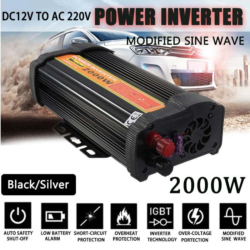 Солнечный Мощность инвертор 12 В 220 В 4000 Вт пики Авто Модифицированная синусоида Напряжение трансформатор Питание конвертер автомобильная з...