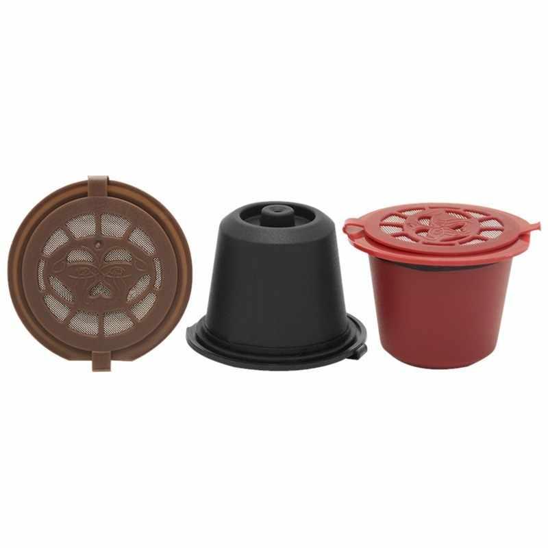 4 個コーヒーフィルター 20 ミリリットル再利用可能な詰め替えコーヒーとネスプレッソカプセルフィルタースプーンブラシキッチンアクセサリー