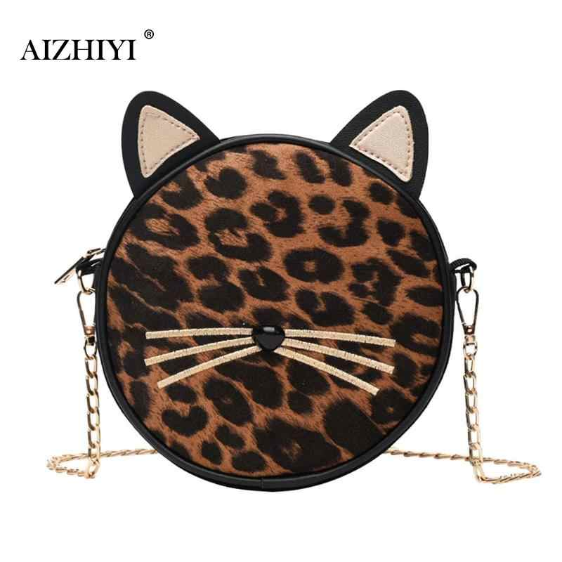 Fashion Leopard Round Messenger Handbag Female Leather Chain Sling Bag for  Women Cat Crossbody Shoulder Bags 8a6fc0ac6238f