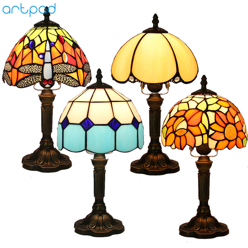 Artpad American Stained Glass Table Lamps Turkish Mosaic E27 Base Glass Lampsahde Bedroom Bedside Vintage Table Lamp 110v 220v