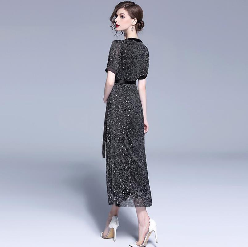 Silk New Vintage V neck line Summer Stars Long Chiffon Female 2018 Sleeves A Sleeve Flare Dress short Sequined Women's Sleeves Yarn Bright TYq5CxOBw
