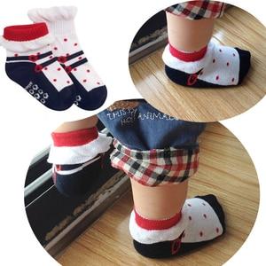 1 à 2 ans filles | Une paire, jolies chaussettes courtes en dentelle, chaussettes drôles à motifs de points rouges, en forme de chaussettes antidérapantes