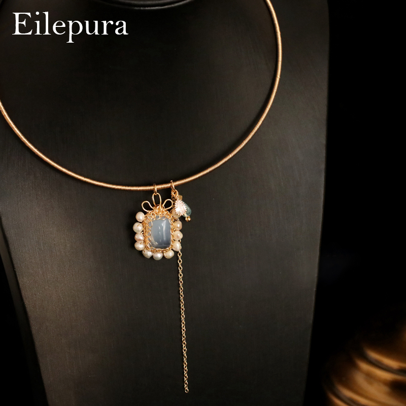 Eilepura 2019 New Handmade Natural Fresh Water Pearl Necklace Pendant Fashion Necklaces For Women Vintage Jewelry N-a004 Necklaces