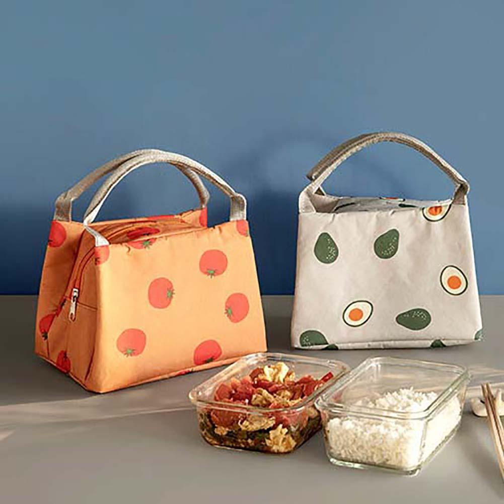Fashion Fruit Printed Thermal Insulation Office Picnic Food Bento Waterproof Lunch Canvas Tote Bag Package Portable