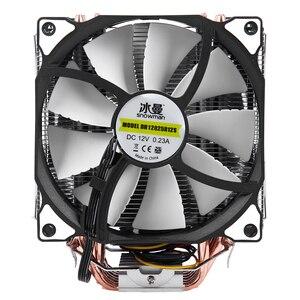 Image 3 - Bonhomme de neige 4PIN refroidisseur de processeur 6 caloduc Double ventilateurs refroidissement 12cm ventilateur LGA775 1151 115x1366 prise en charge Intel AMD