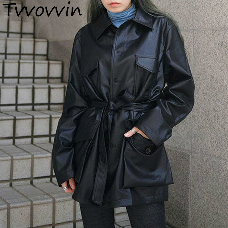 TVVOVVIN Jacket Long Sleeve Single Breasted Women Coats Lace Up High Waist Ladies'   Leather   Jackets Autumn L212