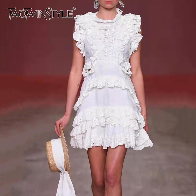 TWOTWINSTYLE Spring Lace Hollow Out Ruffle Dresses Female Sleeveless High Waist Mini Dress For Women Korean