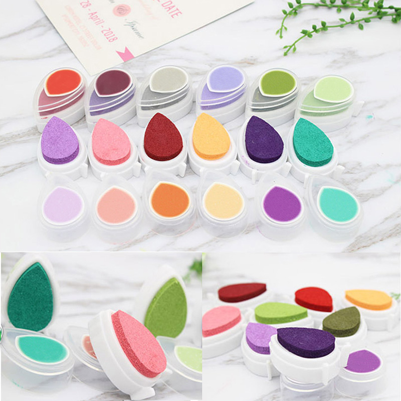 Ink Stamp Pads Kids Favors Colorful Ink Pad Mini Water Droplets Inkpad DIY Scrapbooking Gift For Children Drop Shape
