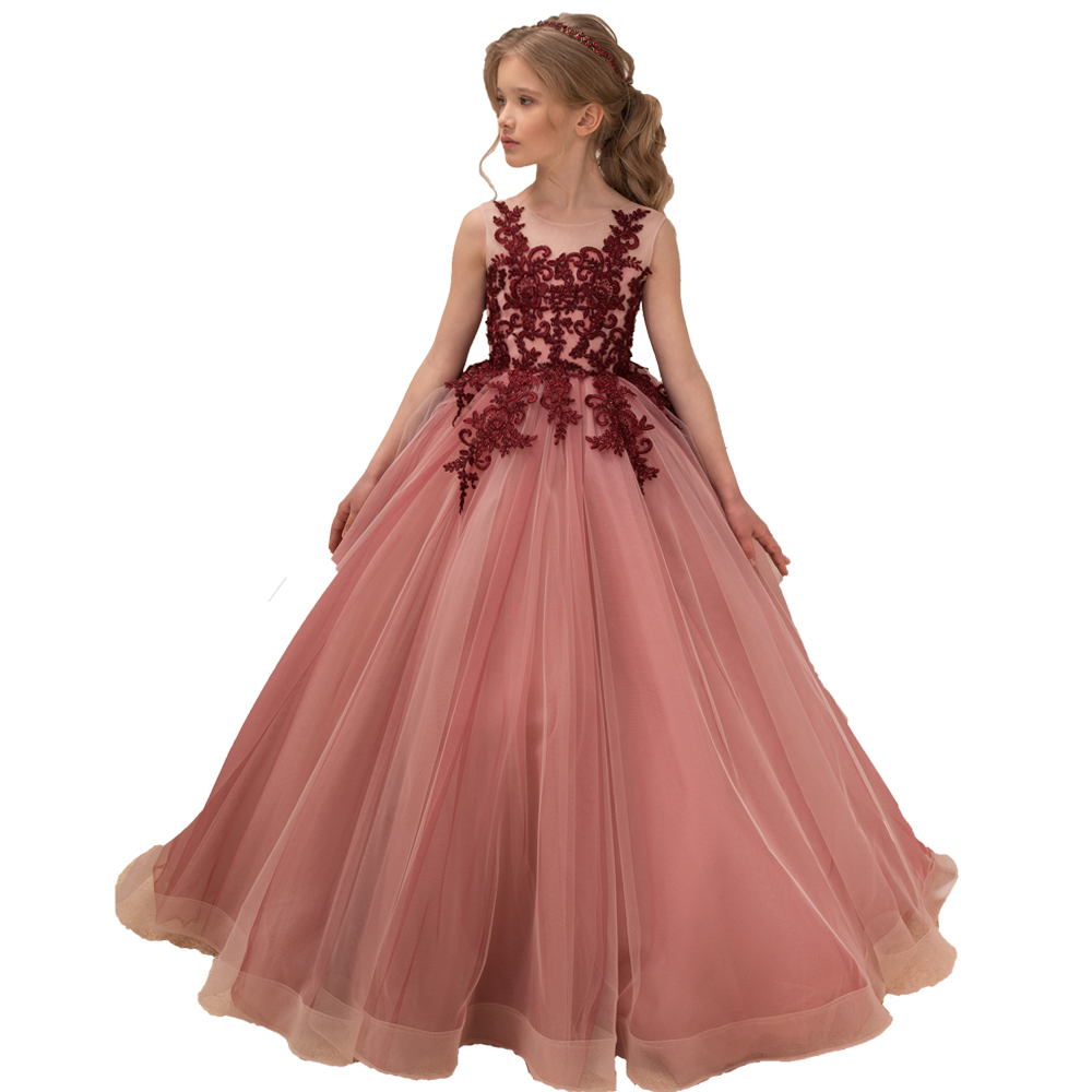 Little Girls Pageant Dresses Burgundy Applique Kids Evening Ball Gowns Formal Lace Tulle Flower Girl White First Communion Dress